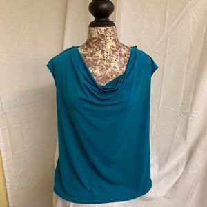 Calvin Klein Womens Blue Large Shirt Cowl Neck
